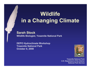Wildlife in a Changing Climate Sarah Stock