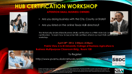 HUB CERTIFICATION WORKSHOP