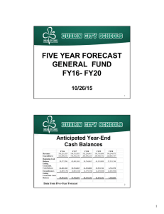 FIVE YEAR FORECAST GENERAL  FUND FY16- FY20 10/26/15