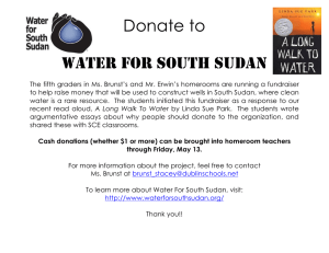 Donate to  WATER FOR SOUTH SUDAN