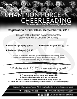 CHAMPION FORCE Registration & First Class: September 14, 2015