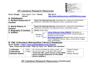 "AP Literature Research Resources A. Databases: ""Scioto"
