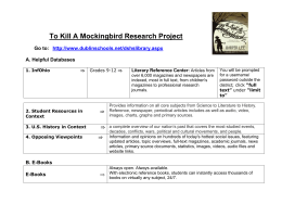 To Kill A Mockingbird Research Project Go to: A. Helpful Databases