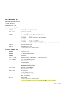 WASHINGTON, DC Grizzell Middle School Travel Itinerary