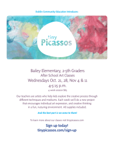 Bailey Elementary, 2-5th Graders 4-5:15 p.m. After School Art Classes