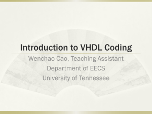 Introduction to VHDL Coding Wenchao Cao, Teaching Assistant Department of EECS
