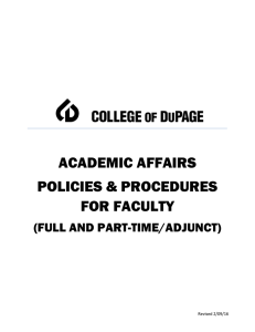ACADEMIC AFFAIRS POLICIES & PROCEDURES FOR FACULTY
