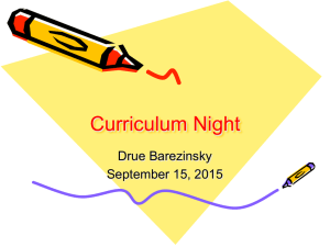 Curriculum Night Drue Barezinsky September 15, 2015