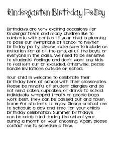 Kindergarten Birthday Policy !