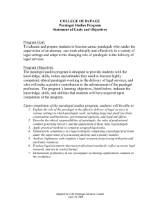 COLLEGE OF D PAGE Paralegal Studies Program Statement of Goals and Objectives
