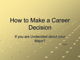 How to Make a Career Decision If you are Undecided about your Major?