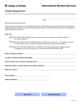 International Student Services College of DuPage Transfer Request Form