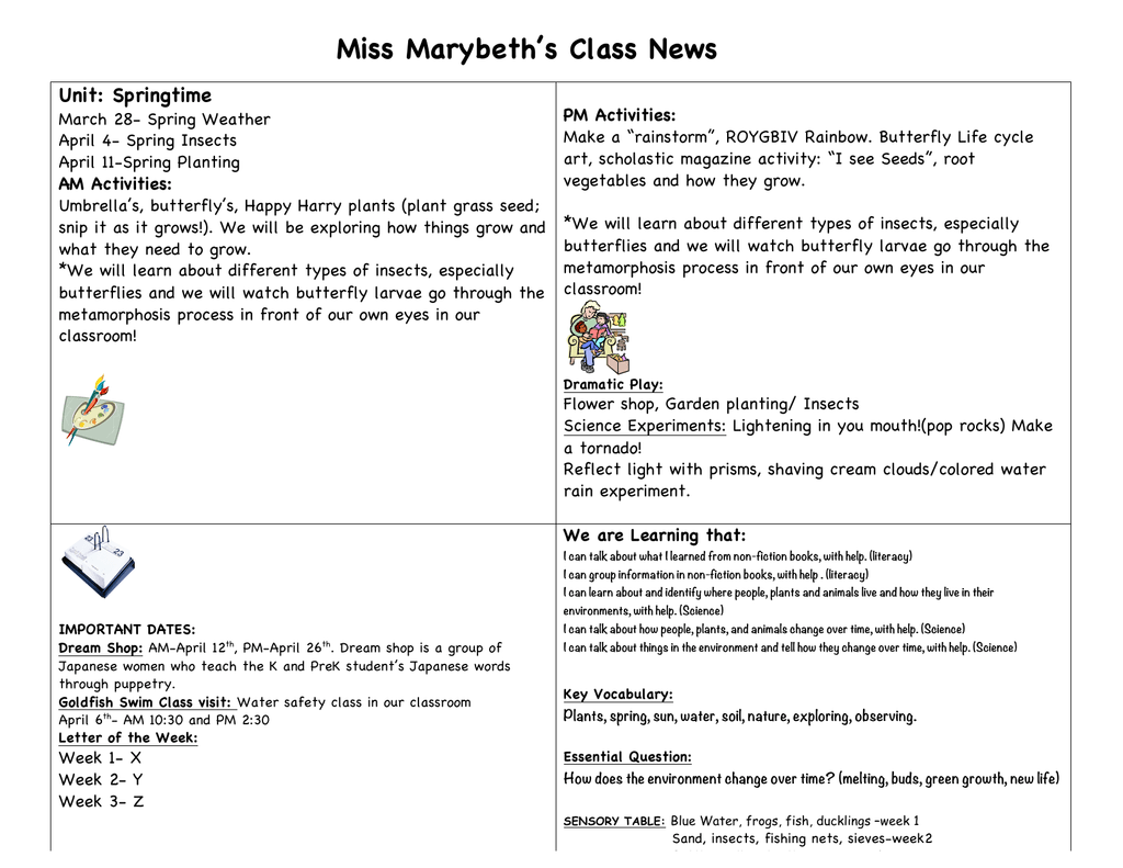 Miss Marybeths Class News Unit Springtime