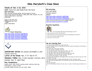 Miss Marybeth's Class News Weeks of: Nov. 2-12, 2015 Unit: