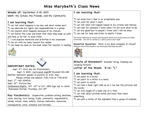 Miss Marybeth's Class News Weeks of: I am learning that: