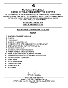 NOTICE AND AGENDA BOARD OF TRUSTEES COMMITTEE MEETING