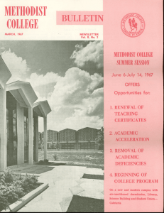 BULLETIN METHODIST COLLEGE June 6-July 14, 1967