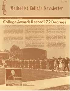 Methodist College Newsletter College Awards Record 172 Degrees BULLETIN OF METHODIST COLLEGE