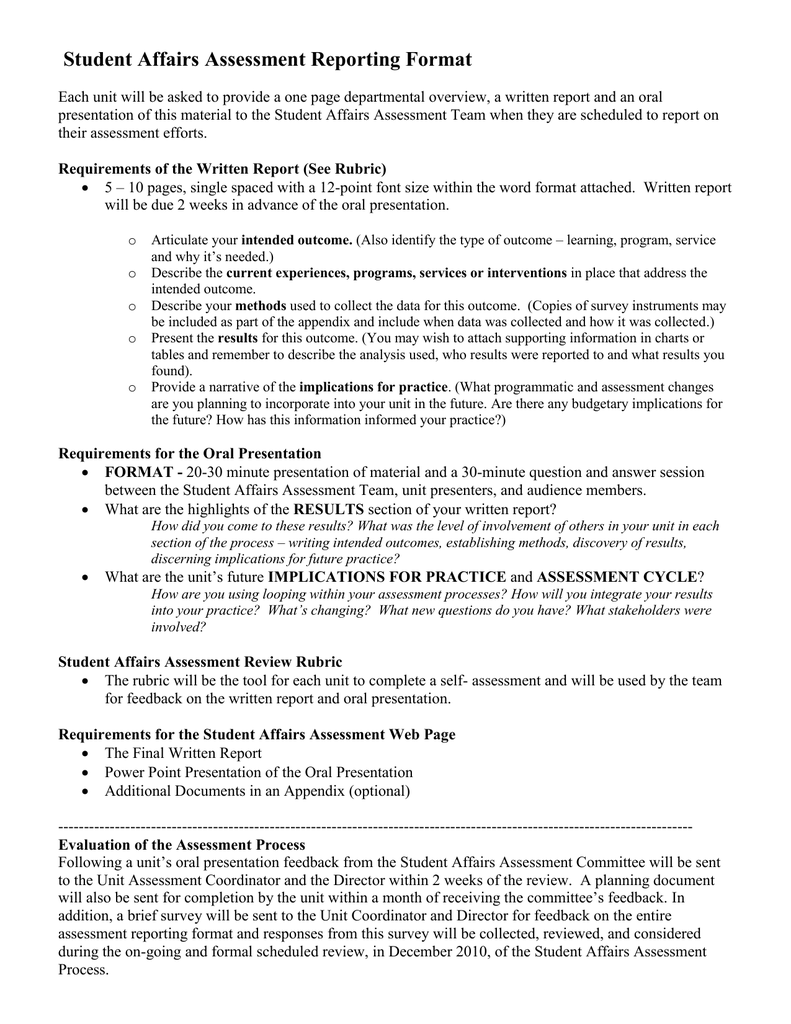 student affairs assessment reporting format