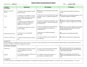 □ Student Affairs Assessment Review Rubric Category