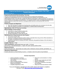 Engineering Standards Benchmarking COP Survey Analysis Task Team Position Description