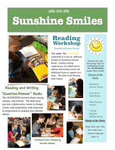 Sunshine Smiles Reading Workshop APRIL 25TH-29TH