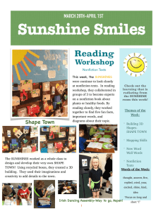 Sunshine Smiles Reading Workshop MARCH 28TH-APRIL 1ST