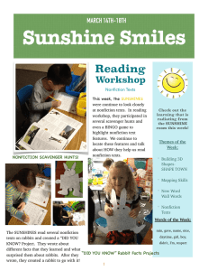 Sunshine Smiles Reading Workshop MARCH 14TH-18TH