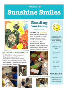 Sunshine Smiles Reading Workshop MARCH 7TH-11TH