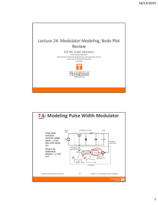 7.6: Modeling Pulse Width Modulator Lecture 24: Modulator Modeling, Bode Plot  Review 10/13/2015