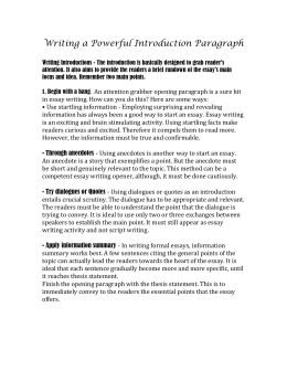 expository essay assignment doc Assignment: after reading ​among the hidden​, choose ​one​of the  following writing prompts in which to write an essay: ○ option 1: at the beginning  of.