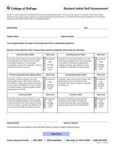 College of DuPage Student Initial Self Assessment