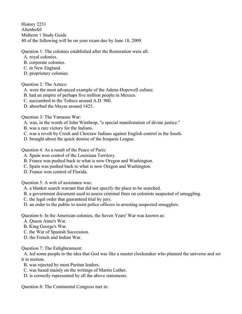 history altenhofel midterm study guide