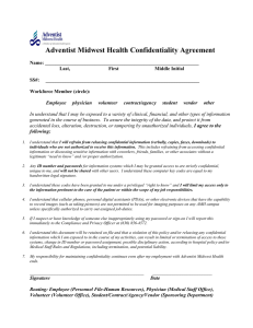 Adventist Midwest Health Confidentiality Agreement