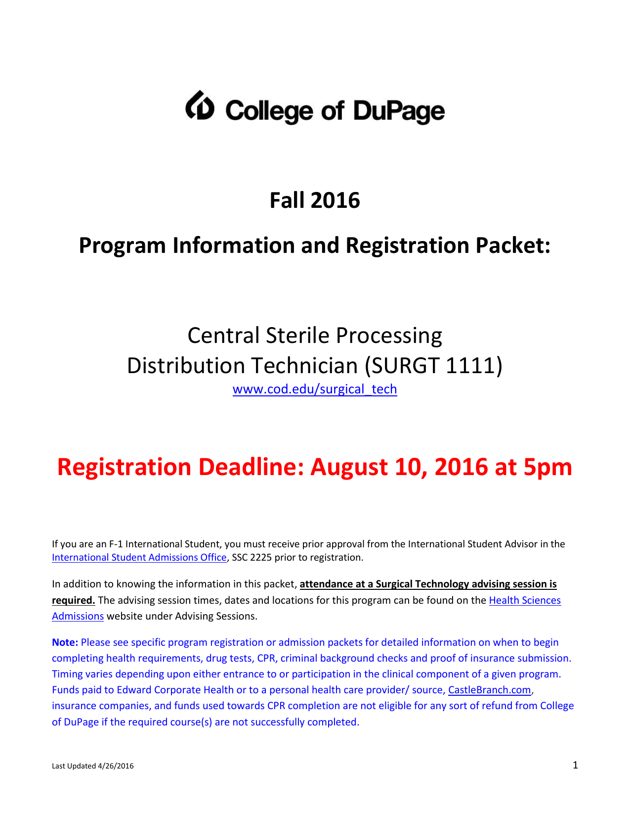 Registration Deadline August 10 2016 At 5pm Central Sterile Processing
