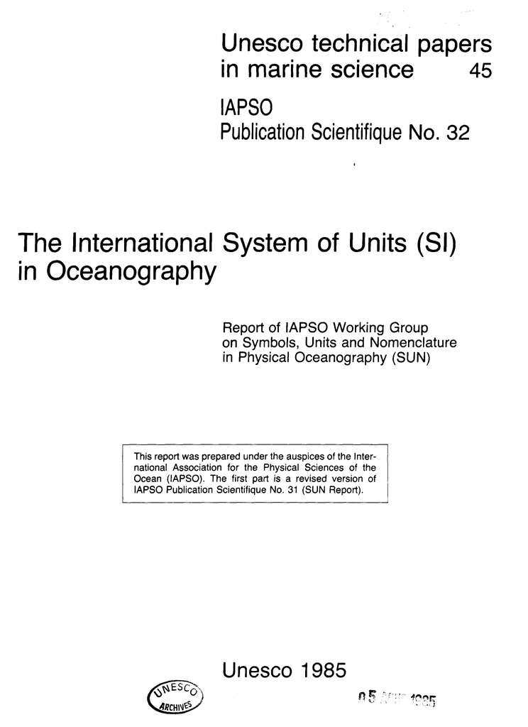 Unesco technical papers in marine science