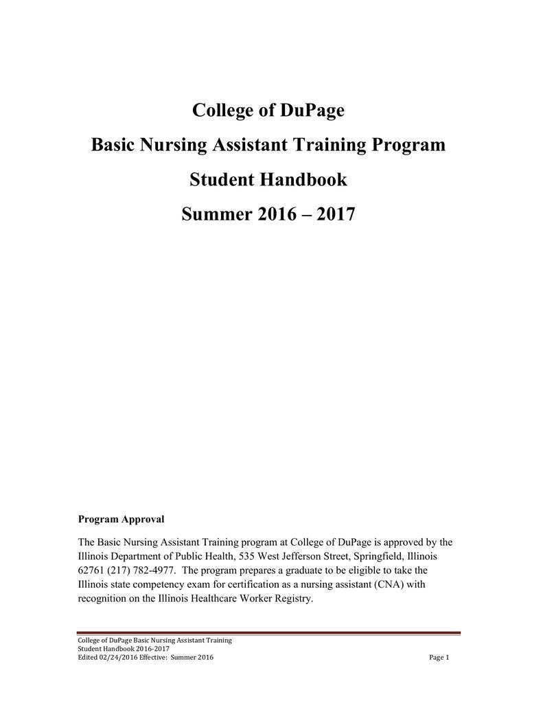 College Of Dupage Basic Nursing Assistant Training Program Student
