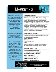 M ARKETING  CAREER OVERVIEW
