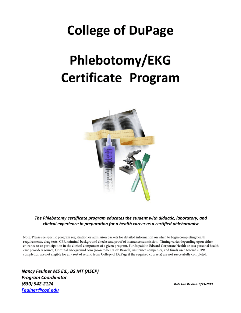 College Of Dupage Phlebotomyekg Certificate
