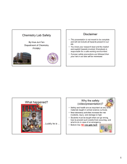 Disclaimer Chemistry Lab Safety By Hua-Jun Fan Department of Chemistry