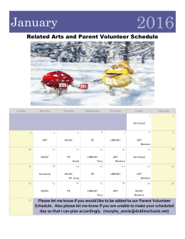 2016 January Related Arts and Parent Volunteer Schedule