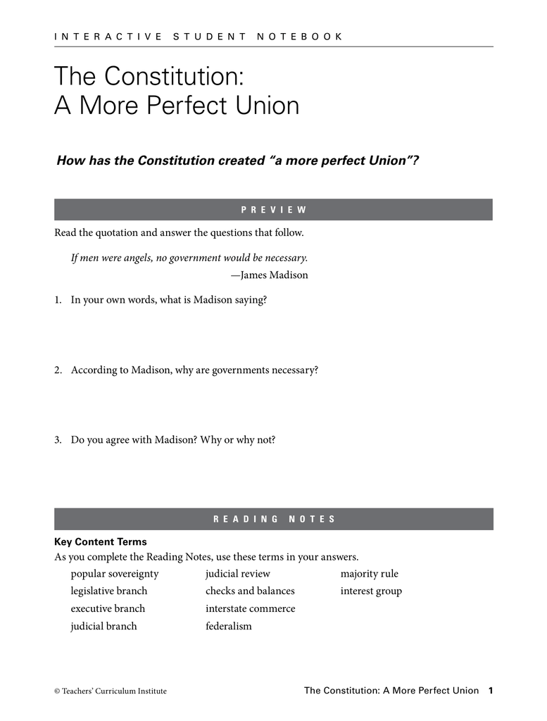 Worksheets Teachers Curriculum Institute Worksheets the constitution a more perfect union