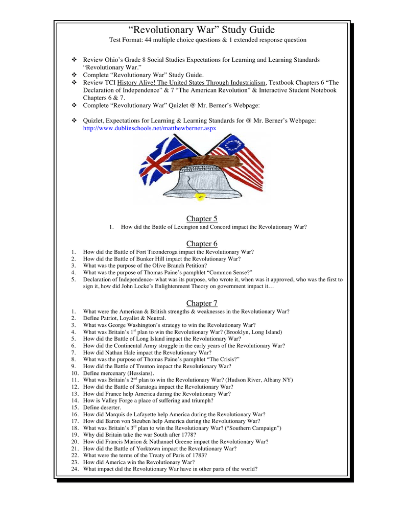 """Revolutionary War"" Study Guide"
