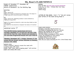 Ms. Rose's CLASS NEWS Weeks of: December 7 - December 18