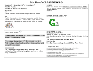 Ms. Rose's CLASS NEWS Weeks of:  November 30 - December 4