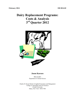 Dairy Replacement Programs: Costs & Analysis 3 Quarter 2012