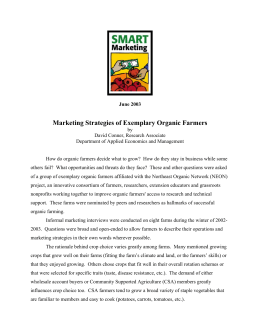 Marketing Strategies of Exemplary Organic Farmers