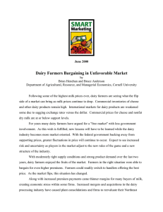 Dairy Farmers Bargaining in Unfavorable Market