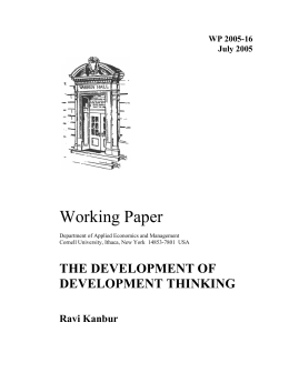 Working Paper THE DEVELOPMENT OF DEVELOPMENT THINKING