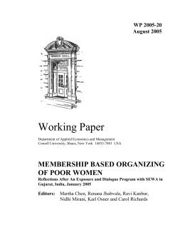 Working Paper MEMBERSHIP BASED ORGANIZING OF POOR WOMEN